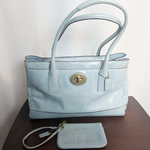 Patent Leather Baby Blue Auth Coach Satchel Wrist